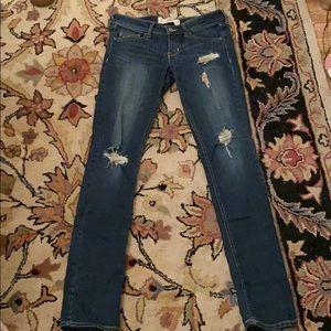 Dark Wash Distressed Denim Jeans from Hollister